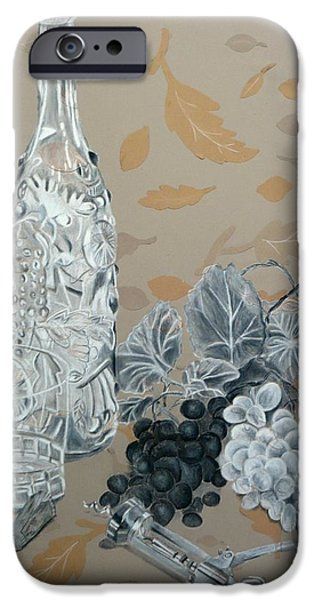 Wine Bottles iPhone Cases - Wine and Grapes iPhone Case by Nicholas Nguyen