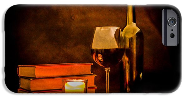 Wine Bottles iPhone Cases - Red Wine by Candlelight iPhone Case by Erin Cadigan