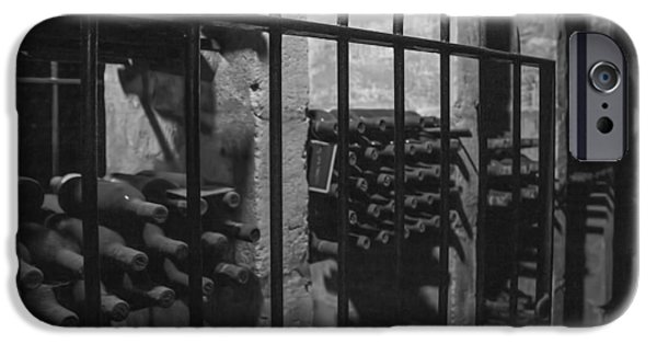 Vintage Wine Lovers Photographs iPhone Cases - Wine Cellar Bottles iPhone Case by Nomad Art And  Design
