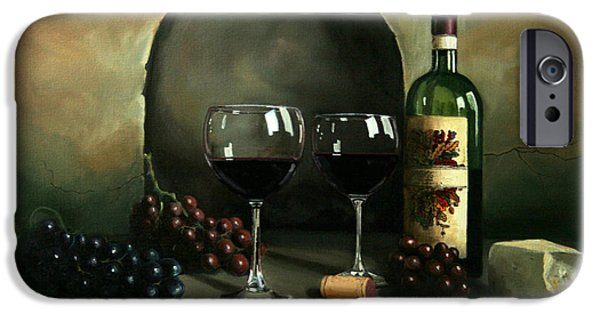 Wine Bottles Paintings iPhone Cases - Wine For Two iPhone Case by Paul Walsh