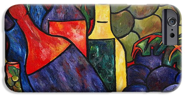 Italian Wine Paintings iPhone Cases - Wine In Color iPhone Case by Patti Schermerhorn