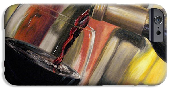 Red Wine iPhone Cases - Wine Pour II iPhone Case by Donna Tuten