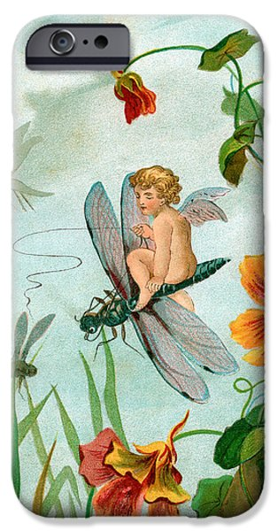 Innocence Drawings iPhone Cases - Winged fairy riding a dragonfly near nasturtium flowers iPhone Case by Unknown