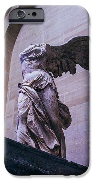 Nike iPhone Cases - Winged Victory of Samothrace iPhone Case by Pati Photography