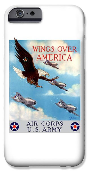 History Mixed Media iPhone Cases - Wings Over America - Air Corps U.S. Army iPhone Case by War Is Hell Store