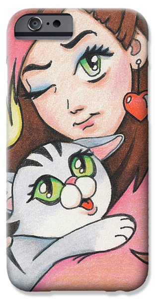 Manga iPhone Cases - Winkie Pinkie and Paw Paw Kitty iPhone Case by Amy S Turner