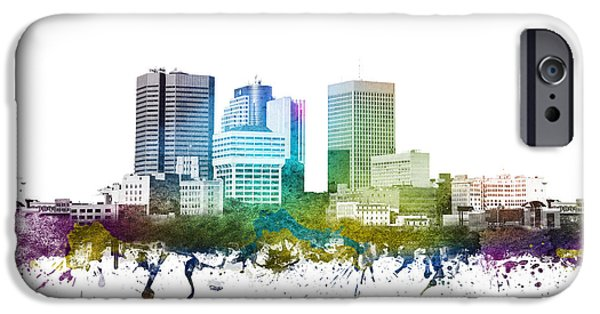 Colour Drawings iPhone Cases - Winnipeg cityscape 01 iPhone Case by Aged Pixel