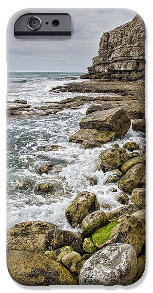 Ledge iPhone Cases - Winspit Cove in Dorset iPhone Case by Pete Hemington