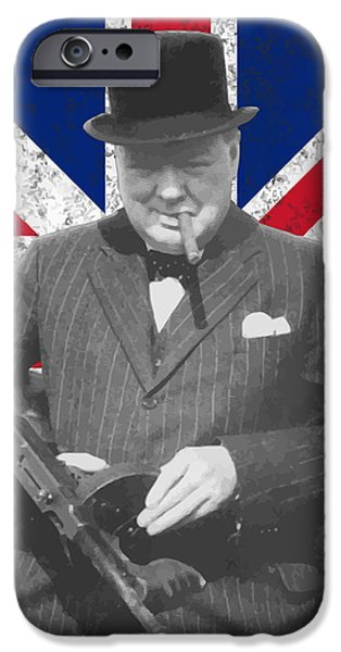Politician iPhone Cases - Winston Churchill And Flag iPhone Case by War Is Hell Store
