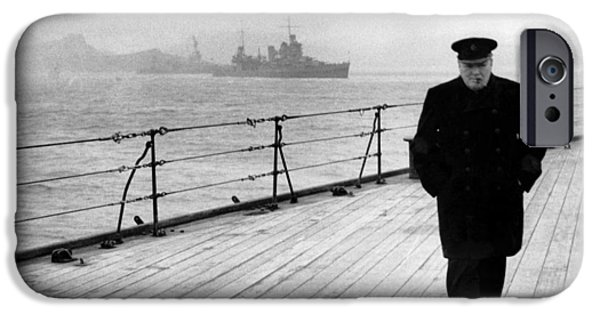 World Wars iPhone Cases - Winston Churchill At Sea iPhone Case by War Is Hell Store