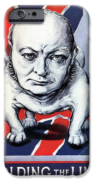 Ww11 iPhone Cases - Winston Churchill Holding The Line iPhone Case by War Is Hell Store