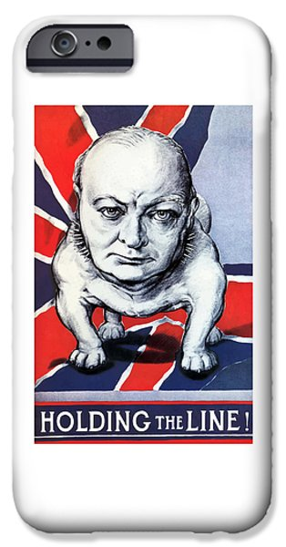 Flag iPhone Cases - Winston Churchill Holding The Line iPhone Case by War Is Hell Store