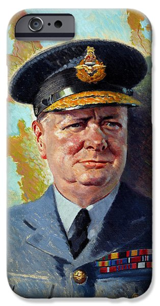 Politician iPhone Cases - Winston Churchill In Uniform iPhone Case by War Is Hell Store