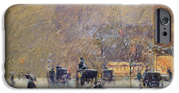 The Horse iPhone Cases - Winter Afternoon in New York iPhone Case by Childe Hassam