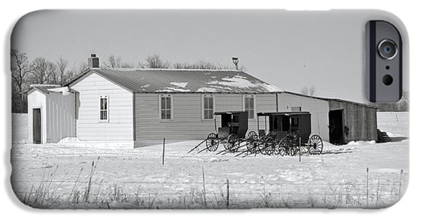 Snowy Day iPhone Cases - Winter Amish Schoolhouse iPhone Case by Nicole Frederick