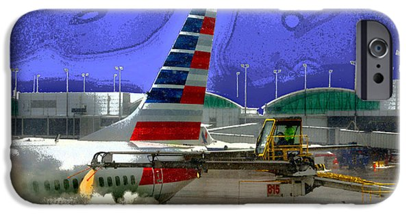 Snowy Day iPhone Cases - Winter at the Airport iPhone Case by Martin Massari