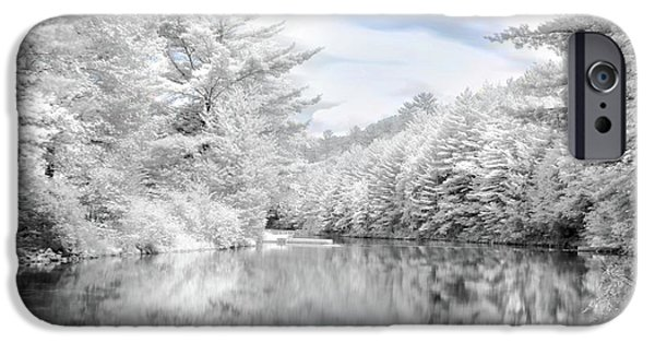 Infrared iPhone Cases - Winter at the Reservoir iPhone Case by Lori Deiter