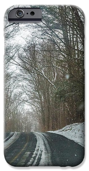 Winter Scene iPhone Cases - Winter Back Road iPhone Case by Jose Torres-Lopez