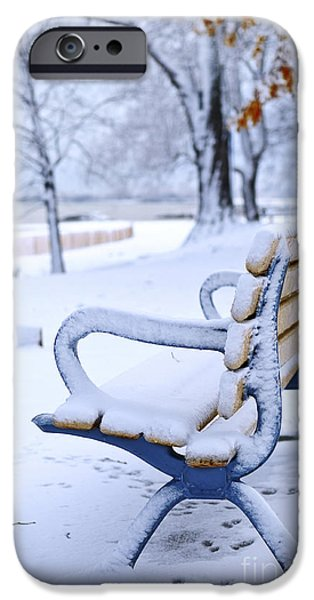 Park Benches iPhone Cases - Winter bench iPhone Case by Elena Elisseeva