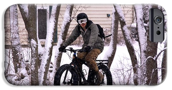 Fat Tire iPhone Cases - Winter Biking in Madison iPhone Case by Karen  Majkrzak