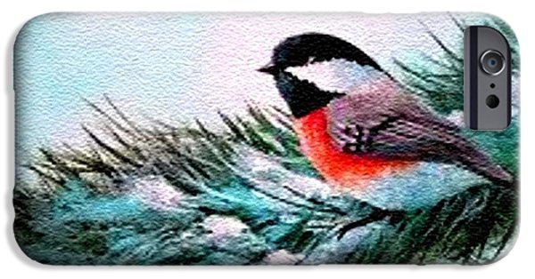 Abstract Digital Pastels iPhone Cases - Winter Bird H a iPhone Case by Gert J Rheeders