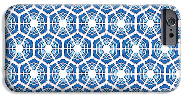 Seamless Tapestries - Textiles iPhone Cases - Winter blue hexagonal snowflakes pattern iPhone Case by Jozef Jankola