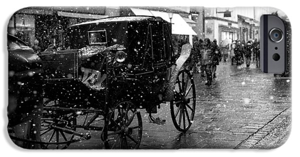 Horse And Buggy iPhone Cases - Winter Buggy in Salzburg iPhone Case by John Rizzuto