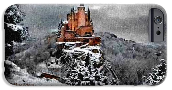 Abstract Digital Paintings iPhone Cases - Winter Castle Germany H A iPhone Case by Gert J Rheeders