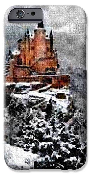 Abstract Digital Paintings iPhone Cases - Winter Castle Germany H B iPhone Case by Gert J Rheeders