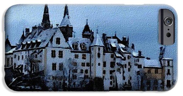 Abstract Digital Paintings iPhone Cases - Winter Castle - no. 2 H B iPhone Case by Gert J Rheeders