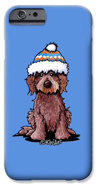 Kim Drawings iPhone Cases - Winter Chocolate Doodle iPhone Case by Kim Niles