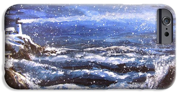 Jack Skinner Paintings iPhone Cases - Winter Coastal Storm iPhone Case by Jack Skinner