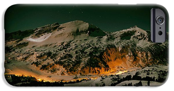 Snowy Night iPhone Cases - Winter Evening On The Slopes iPhone Case by Alligator48