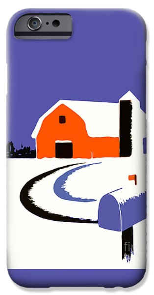 Design iPhone Cases - Winter Farm Scene Poster Graphic iPhone Case by Edward Fielding