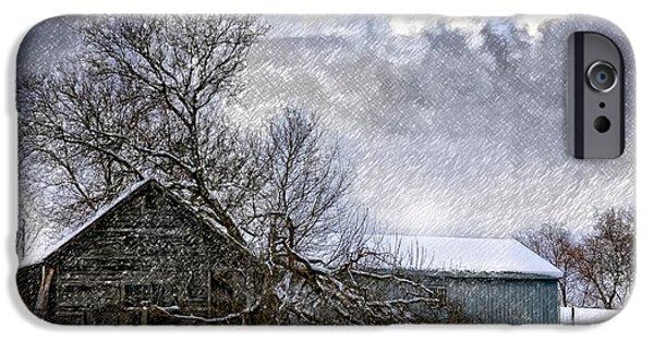 Winter Storm Digital iPhone Cases - Winter Farm iPhone Case by Steve Harrington