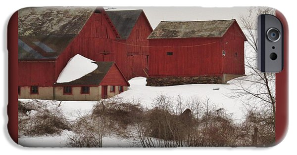Red Barn In Winter iPhone Cases - Winter Farm iPhone Case by Tom Cruickshanks