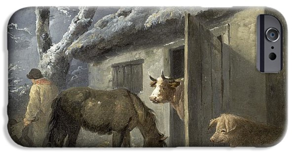 Winter Scene iPhone Cases - Winter Farmyard iPhone Case by George Morland