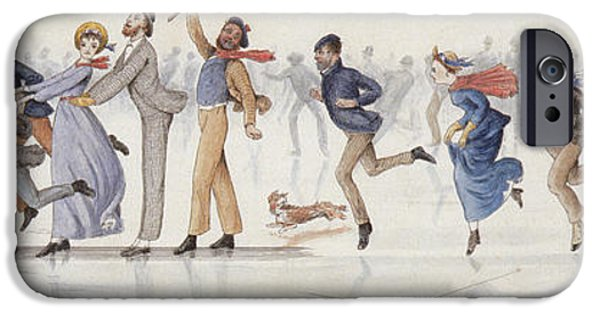 Winter Drawings iPhone Cases - Winter Fun iPhone Case by Charles Altamont Doyle