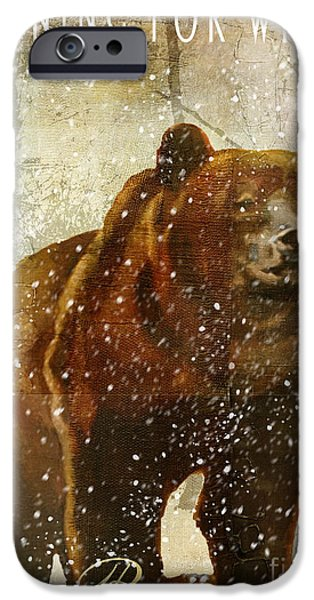 Black Bear iPhone Cases - Winter Game Bear iPhone Case by Mindy Sommers