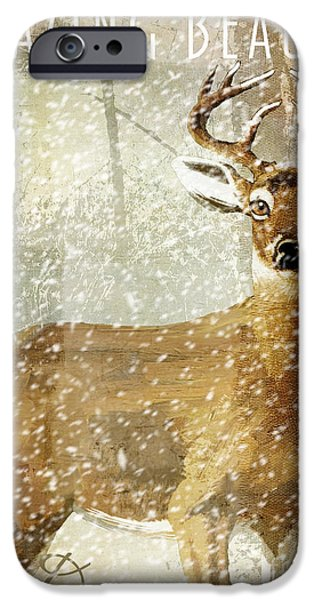 Escape iPhone Cases - Winter Game Deer iPhone Case by Mindy Sommers