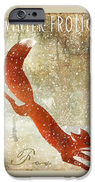 Fox Paintings iPhone Cases - Winter Game Fox iPhone Case by Mindy Sommers
