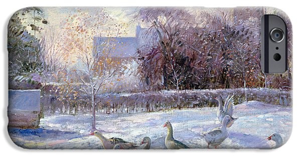 Geese iPhone Cases - Winter Geese in Church Meadow iPhone Case by Timothy Easton