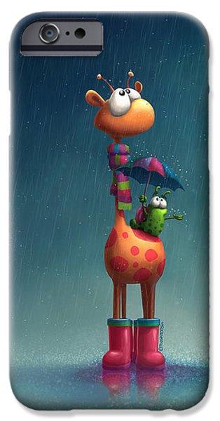 Winter Storm iPhone Cases - Winter Giraffe iPhone Case by Tooshtoosh