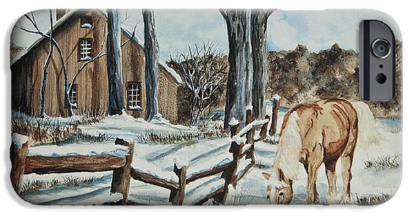 Split Rail Fence iPhone Cases - Winter Grazing  iPhone Case by Charlotte Blanchard