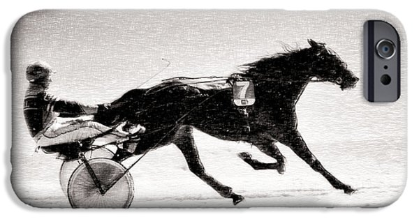 Horse Racing iPhone Cases - Winter Harness Racing iPhone Case by Ari Salmela