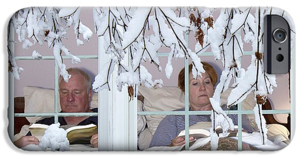 Cabin Window iPhone Cases - Winter Hibernation iPhone Case by Karen Foley