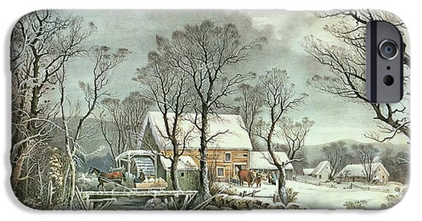 Snow Landscape iPhone Cases - Winter in the Country - the Old Grist Mill iPhone Case by Currier and Ives