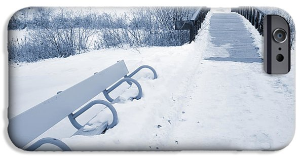 Snowy Day iPhone Cases - Winter Landscape Blue Tone iPhone Case by Donald  Erickson