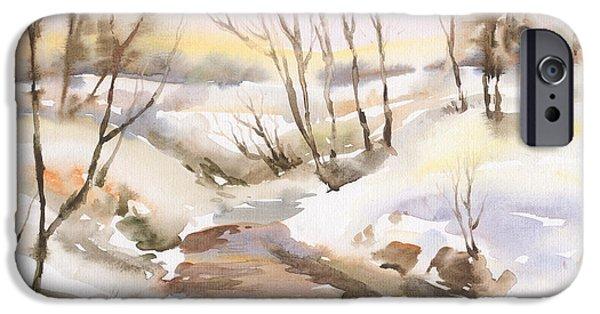 River iPhone Cases - Winter landscape iPhone Case by Ilie Leu