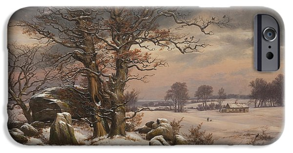 Winter Landscape Paintings iPhone Cases - Winter Landscape iPhone Case by Johan Christian Dahl